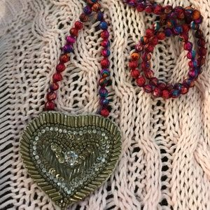 Jewelry - Unique fabric beaded heart necklace